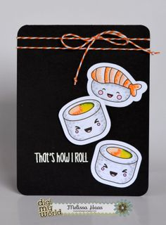 Kawaii Sushi, Jaded Blossom Sentiment Stamp