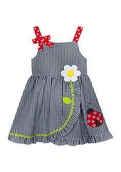 Rare Editions Girls' Girls Seersucker Dress With Ladybug Applique - Navy - 6 Girls Maxi Dresses, Toddler Girl Dresses, Little Girl Dresses, Cute Dresses, Infant Dresses, Toddler Girls, Girls 4, Baby Dresses, Seersucker Dress