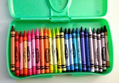 car organizing article, but I love this idea for a wipes holder for crayons!