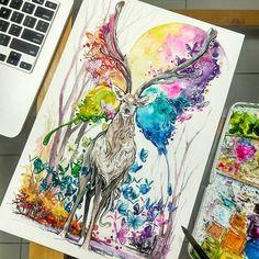 краска, любовь, хипстер, олень, эскиз