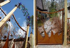 Bottle Tree Custom Metal Gate by Stephanie Dwyer of Ridgeland, Mississippi.  I LOVE her work.  It is magical to me.