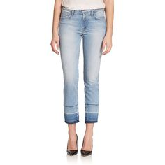 Genetic Los Angeles Olivia High-Rise Cropped Straight-Leg Jeans (655 MAD) ❤ liked on Polyvore featuring jeans, apparel & accessories, intrigue, high waisted stretch jeans, cuff jeans, highwaisted jeans, high waisted straight leg jeans and high waisted jeans