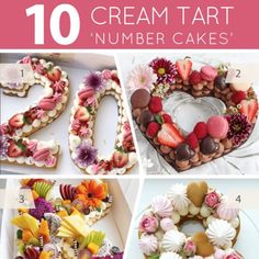 Cream Tarts. Number Cakes. Letter Cakes. Whatever you call them, we love these trendy layers of tart crust and cream topped with fruit, flowers, macarons, meringues and candy!