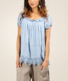 Look at this Chic Dressing Sky Claire Silk-Blend Scoop Neck Top on #zulily today!