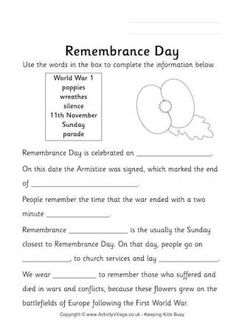 Fill in the blanks - selecting the words and phrases from the box - in this Remembrance Day worksheet. Remembrance Day Activities, Remembrance Day Art, Writing Activities, Classroom Activities, Rainbow Activities, Anzac Day, Theme Days, Home Schooling, Lessons For Kids