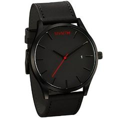 MVMT Watches Black Face with Black Leather Strap Men's Watch - I like the simple…