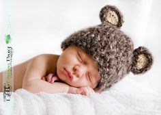 READY Baby Boy Hat  - Baby Bear Hat  - Baby Hat Made with Soft Mohair Blend Yarn