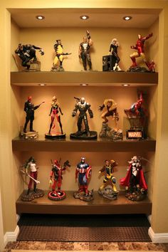 Cool 32 Captivating Action Figure Display Design Ideas To Your Hobbies Geek Man Cave, Man Cave Room, Man Cave Diy, Man Cave Basement, Man Cave Home Bar, Basement Bathroom, Comic Book Rooms, Comic Room, Toy Display
