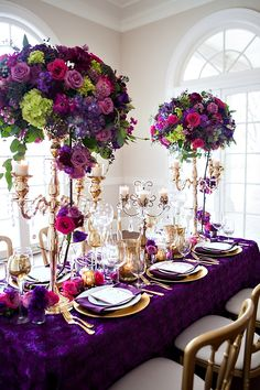 Mardi Gras wedding inspiration shoot   Floral Design by Chelish Moore Flowers   Paper goods by Elisabeth Rose   Design by The Graceful Host   Photography by Old South Studios   Rentals by Party Reflections of Charlotte   Venue: Separk Mansion