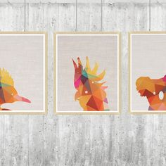 Geo echidna, cockatoo and koala and baby prints (set of 3) from hard to find