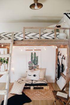 Boho Modern Loft Bedroom – Jaime J Scott Loft Beds For Teens, Cool Kids Bedrooms, Modern Teen Bedrooms, Adult Loft Bed, Girl Bedrooms, Boho Bedroom Decor, Room Ideas Bedroom, Small Room Bedroom, Loft Room