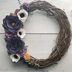 A personal favorite from my Etsy shop https://www.etsy.com/listing/590970275/felt-flower-wreath-grapevine-wreath-with