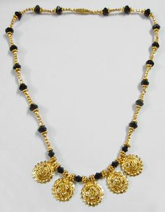 Gold Plated Mangalsutra ( Metal And Glass Beads)) Indian Wedding Jewelry, Bridal Jewelry, Beaded Jewelry, Beaded Necklace, Gold Jewelry, Buy Gold Jewellery Online, Gold Jewellery Design, Gold Pendent, Gold Mangalsutra Designs