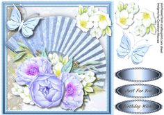 A Lovely card to make and give to any Female on there birthday Beautiful Blue Fan and Roses has two greeting tags and a blank one