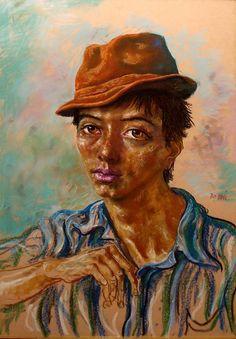 "Antonio Berni, ""Joven con sombrero"" pastel 100 x 70 cm."