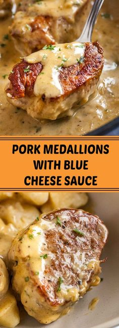 Pork Medallions with Blue Cheese Sauce – recipesrecipes.club Pork Medallions with Blue Cheese Sauce – recipesrecipes. Pork Tenderloin Recipes, Pork Chop Recipes, Meat Recipes, Cooking Recipes, Healthy Recipes, Sauce Recipes, Vegetarian Cooking, Pork Chops, Cooking Tips