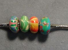 European bead polymer clay .925 pink green blue big hole bead  46 #European