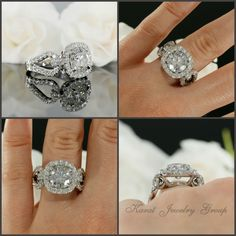 Halo Engagement Ring Mounting with Diamonds in 14K White Gold