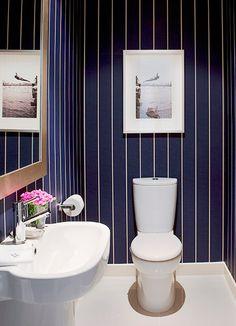 My Guest Powder Room! 37 Inspirational Ideas To Design A Guest Toilet Dark Blue Bathrooms, Blue Bathroom Vanity, Small Bathroom, Office Bathroom, Guest Toilet, Small Toilet, Bathroom Interior Design, Interior Decorating, Decorating Ideas