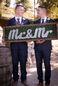 Fun married sign for two grooms