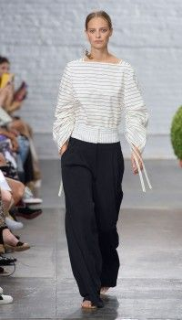 Striped Shirting Sculpted Boatneck Top