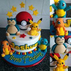 Cake idea w/ Gyarados, Onix, Charizard, & Blastoise characters. - Poke Ball Cake idea w/ Gyarados Onix Charizard & Blastoise characters. Pokemon Themed Party, Pokemon Birthday Cake, 9th Birthday Cake, Happy 6th Birthday, 6th Birthday Parties, Birthday Ideas, Pokemon Go Cakes, Pikachu Cake, Pokemon Pokemon