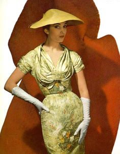 Model in silk print dress by Lanvin-Castillo, photo by Georges Saad, 1954