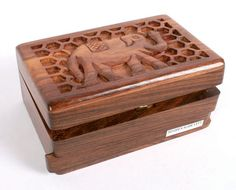 GBP1800 Wooden Box With Carved Elephant Lid Secret Lock