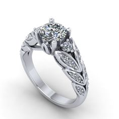 white gold moissanite center and diamonds engagement ring, style 3wd