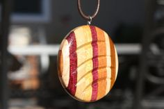 Stripped Wood Pendant J14 by Salswoodturning on Etsy