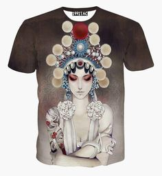 China Style Women's T-shirt 3d summer tops printed Beijing opera actor Casual t shirt short sleeve tees  #Affiliate