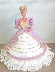 CROCHET FASHION DOLL PATTERN-#496 LOVELY IN LILAC #ICSORIGINALDESIGNS