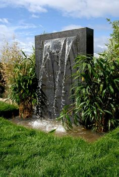 Contemporary Garden Water Feature Design A Look at Contemporary Water Features Contemporary Garden Water Feature Design. Contemporary water features can add character and style to any living space. Water Fountain Design, Modern Fountain, Fountain Ideas, Waterfall Landscaping, Garden Waterfall, Outdoor Waterfall Fountain, Wall Waterfall, Outdoor Wall Fountains, Garden Fountains