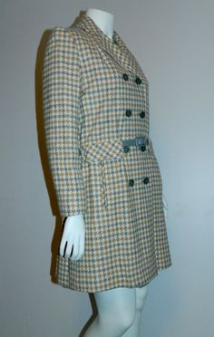 vintage 1960s plaid peacoat MOD wool coat gray camel Houndstooth S - M by retrotrend on Etsy