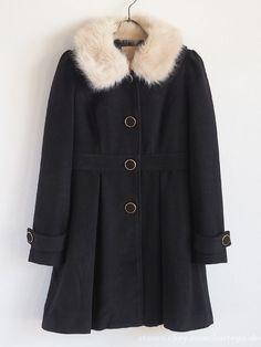 Secret Honey 109 J-fashion Heavy Winter Black Coat Ribbon Fur Lolita Hime gyaru Liz Lisa, Gyaru, Online Price, Fur Coat, Honey, Ribbon, Japan, Winter, Jackets