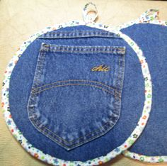 Jumbo Recyled Denim Pocket Pot Holder Xtra Large Hot Pad Potholder Hotpad