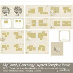 My Family Genealogy Layered Template Book - Digital Scrapbooking Templates