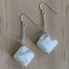 Sterling Silver Recycled Glass Bead Earrings
