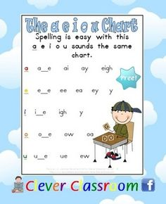 Weekly Freebie: FREE Word Work Resource  Free from Clever Classroom on TpT    FREE The a, e, i, o, u Sounds the Same Chart Spelling/Sounds - 1 page
