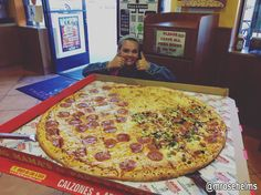 """Two thumbs up for our 36"""" Big Papa's pizza! Add an order of our tasty Buffalo Chicken Wings for the perfect game-day party meal. #BMPP"""