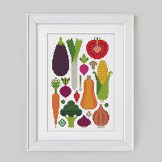 Gemüse sticken Kreuzstich, Stickmuster und Stickvorlagen - Handarbeit liegt im Trend, Stickvorlage Küche, Stickbild Küche