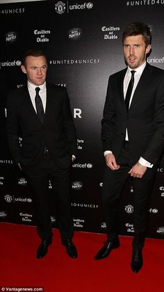 Wayne Rooney was without pregnant wife Coleen as he attended with Michael Carrick...