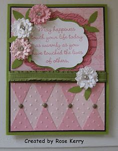 Pretty Pink Happiness Card...love the use of the pennant punch!
