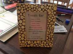 Treats Bar Poem Hugs N Kisses, Love Is Sweet, Our Wedding, Poems, Treats, Bar, Frame, Sweet Like Candy, Goodies
