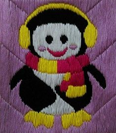The only aquatic bird penguin 🐧 (Multi Mallow Flower, Aquatic Birds, Thread Painting, Flamboyant, Hand Stitching, Penguins, The Help, Hand Knitting, Hand Embroidery