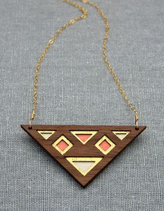 Luxe Layered Triangular Walnut Wood Necklace with by birdofvirtue, $52.00