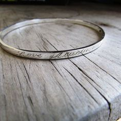 engraved bangle with engraving with names by hellothula on Etsy