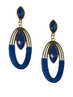 Cercei lungi, aurii, cu aplicatii albstre New spring summer collection earrings