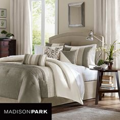 This Madison Park Eastridge 7-piece comforter set is a perfect way to give your bedroom a fresh update. Neutral colors of ivory, pearl and taupe create this beautiful set that includes a comforter, two shams, one bedskirt, and three decorative pillows.