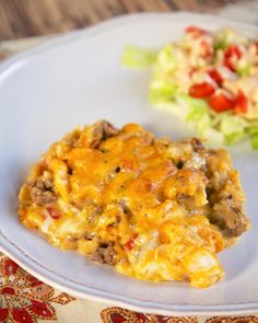 Beefy King Ranch Casserole - easy Mexican casserole with taco meat, Rotel, cheez whiz, and tortilla chips. Ready in 30 minutes! Baked Chicken Recipes, Beef Recipes, Cooking Recipes, Healthy Recipes, Healthy Foods, Easy Recipes, Healthy Life, Easy Casserole Recipes